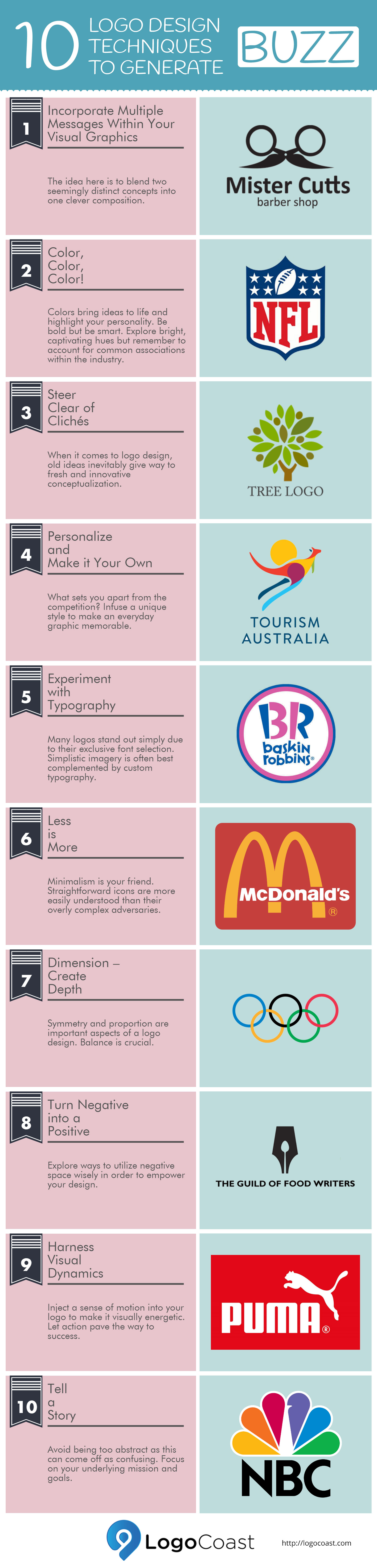 10 Logo Design Techniques to Generate Buzz (Infographic)